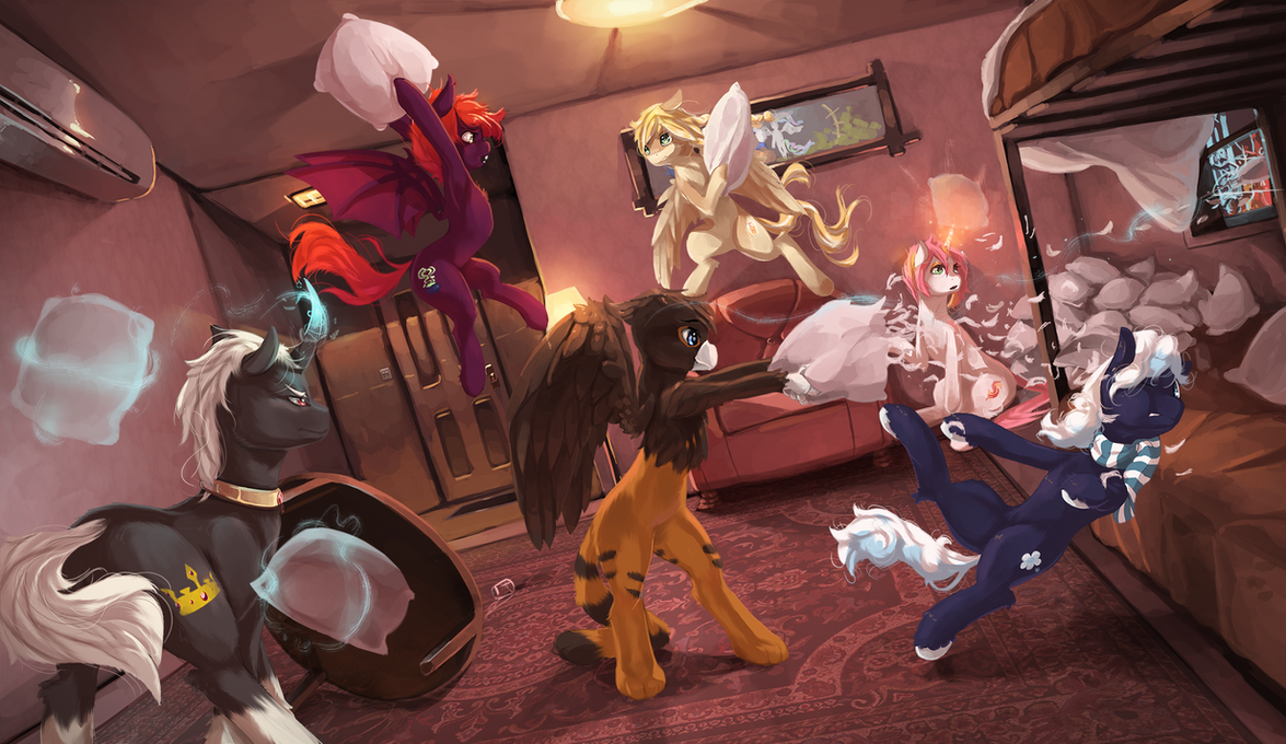 Pillow fight by fruitbloodmilkshake on DeviantArt