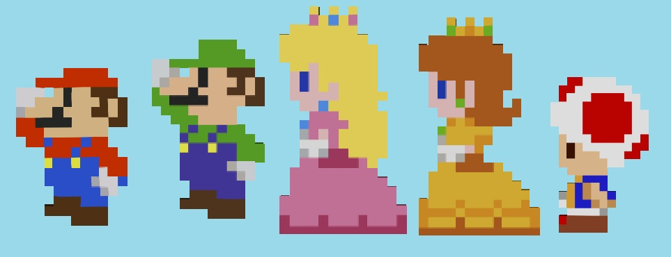Mario And The Co In 8 Bit By Princesspuccadominyo On Deviantart
