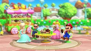 Mario And Co. Eating Donuts (Screenshot)
