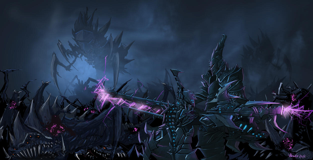 [W40K] Collection d'images : les Xenos - Page 2 Darkeldar_vs_tyranids_by_minenanoah-d5iw55i