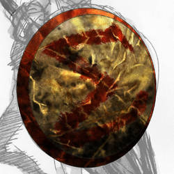 hoplite WIP dented shield