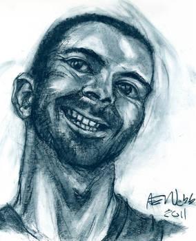 chalk, self portrait, one hour