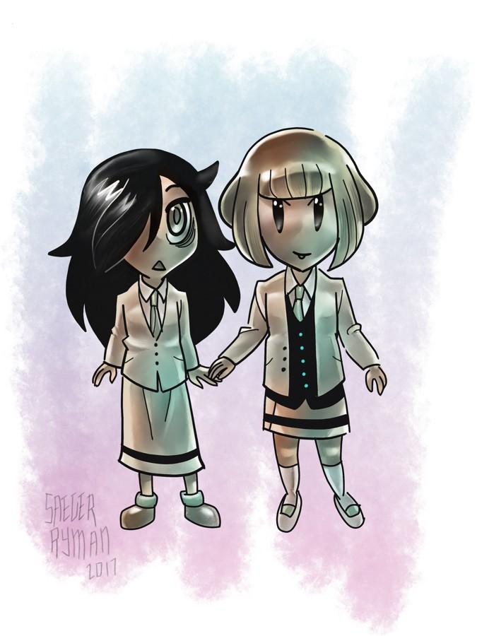 Watamote: Tomoko and Ucchi by ezsaeger