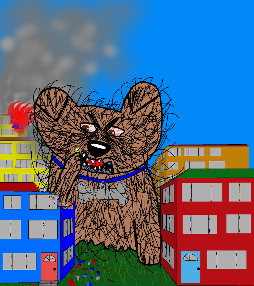 scary giant dog terrorising city doodle by Scott-A-T-art