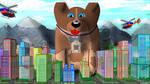 friendy giant dog saving city by ScottToms