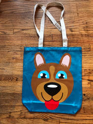 dog painting on canvas bag