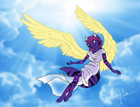Angelic Mewies takes flight - Commission