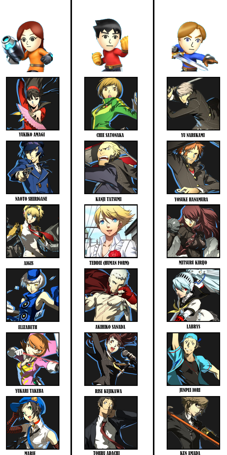 SSB4 Mii Fighter Roster - Persona 4 Arena Ultimax by TuffTony on ... Akihiko Persona