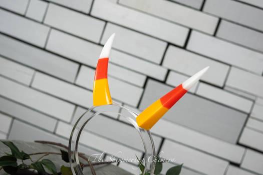 Halloween Candy Corn Oni Horns