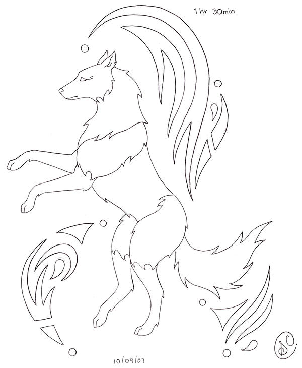 Spirit wolf coloring pages
