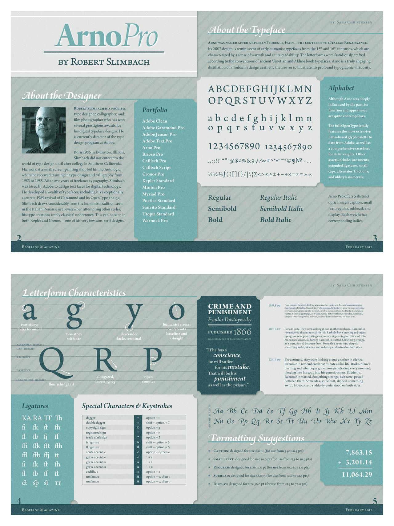 Arno Typeface Spreads by SaraChristensen