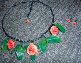 Summer Roses necklace and earrings by rionsanura