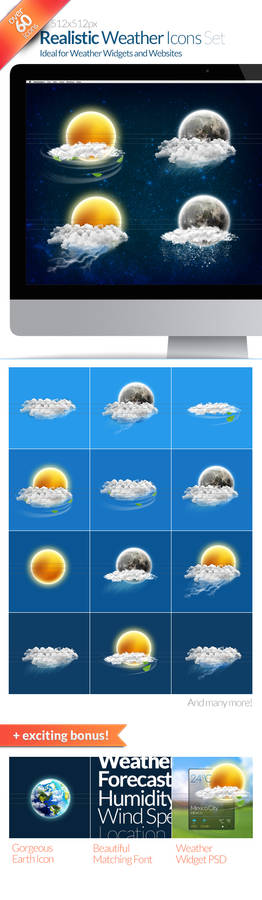 60+ Realistic Weather Icons