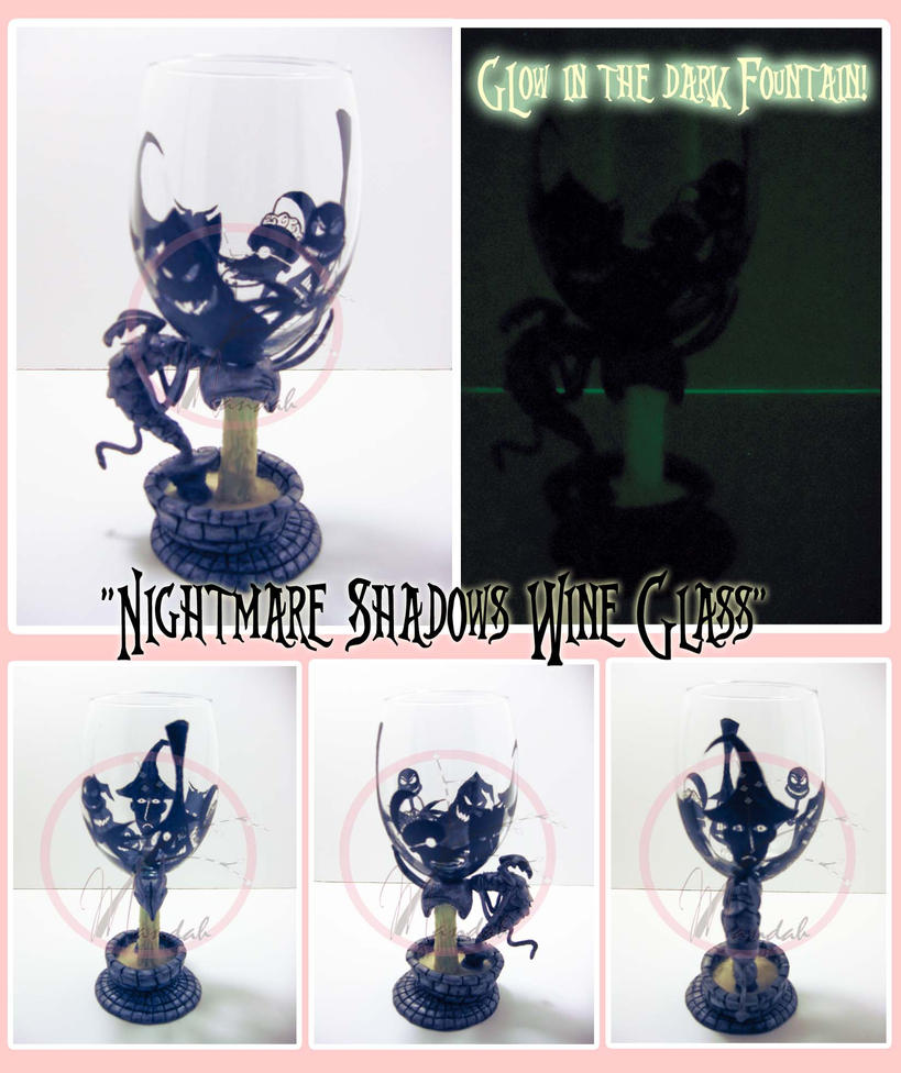 Nightmare Shadows Wine Glass by ForesakenFaerie