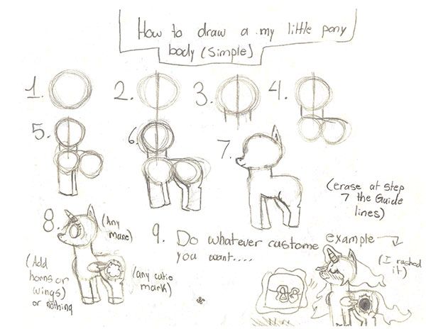 How to draw My Little Pony (Simple) by Pinkie---Dash