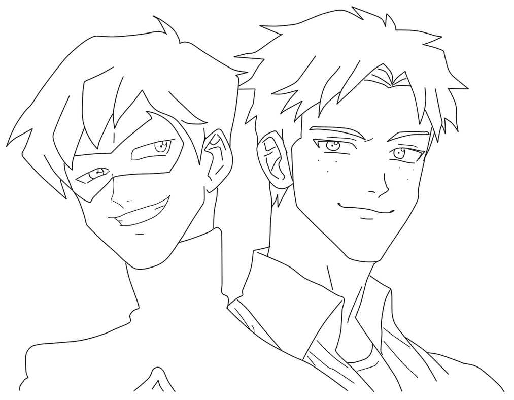 Line Drawing Robin : Young justice kid flash and robin line art by