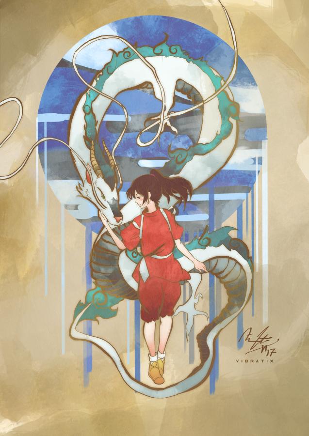 Chihiro and Haku by Vi...