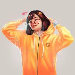 Yellow Cute Girl in Hoddie