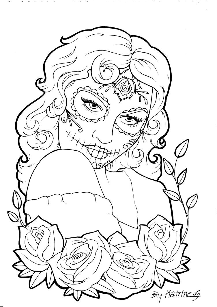 calavera catrina coloring pages - photo#10