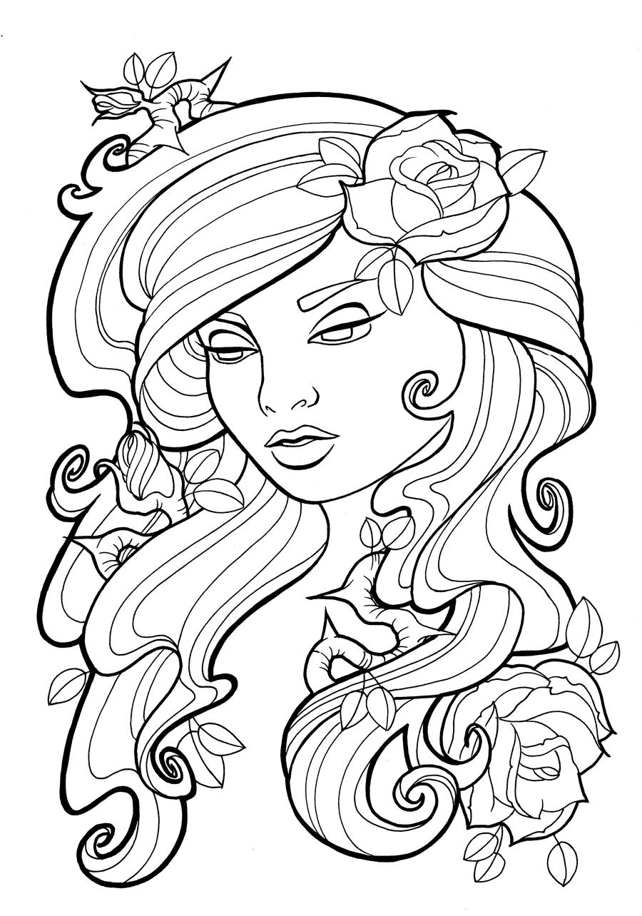 Free Tattoo Line Drawing : Nouveau roses lines by koyasan on deviantart