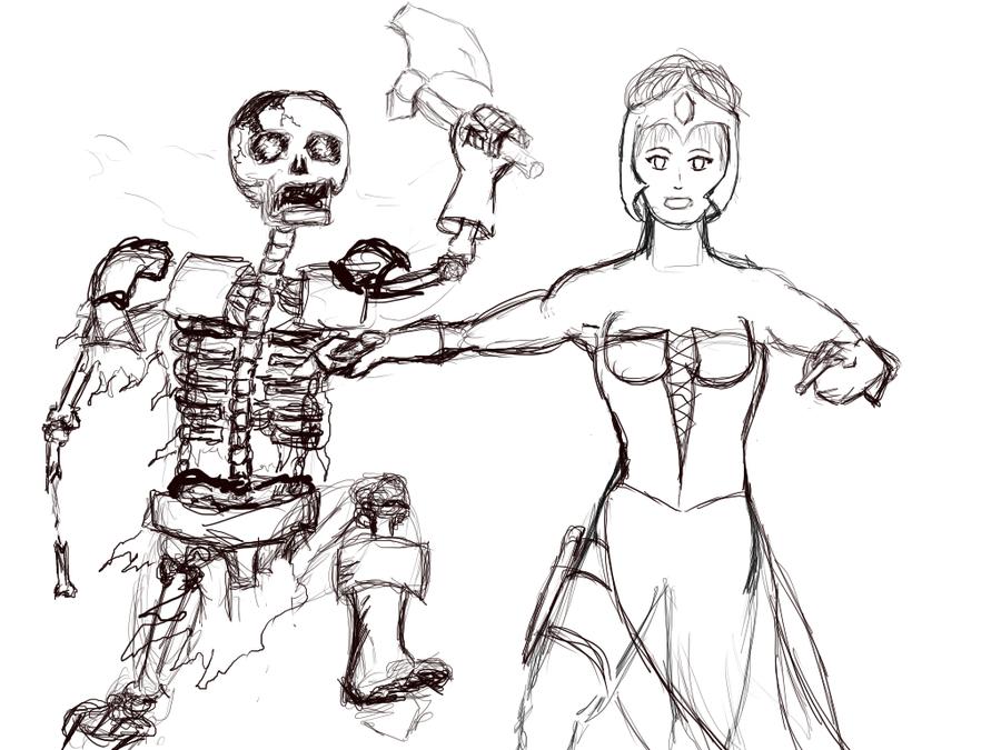 some old sketche's Sorceress_in_battle_by_bestie71-d57xzef