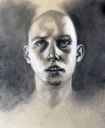 charcoal and chalk on toned paper
