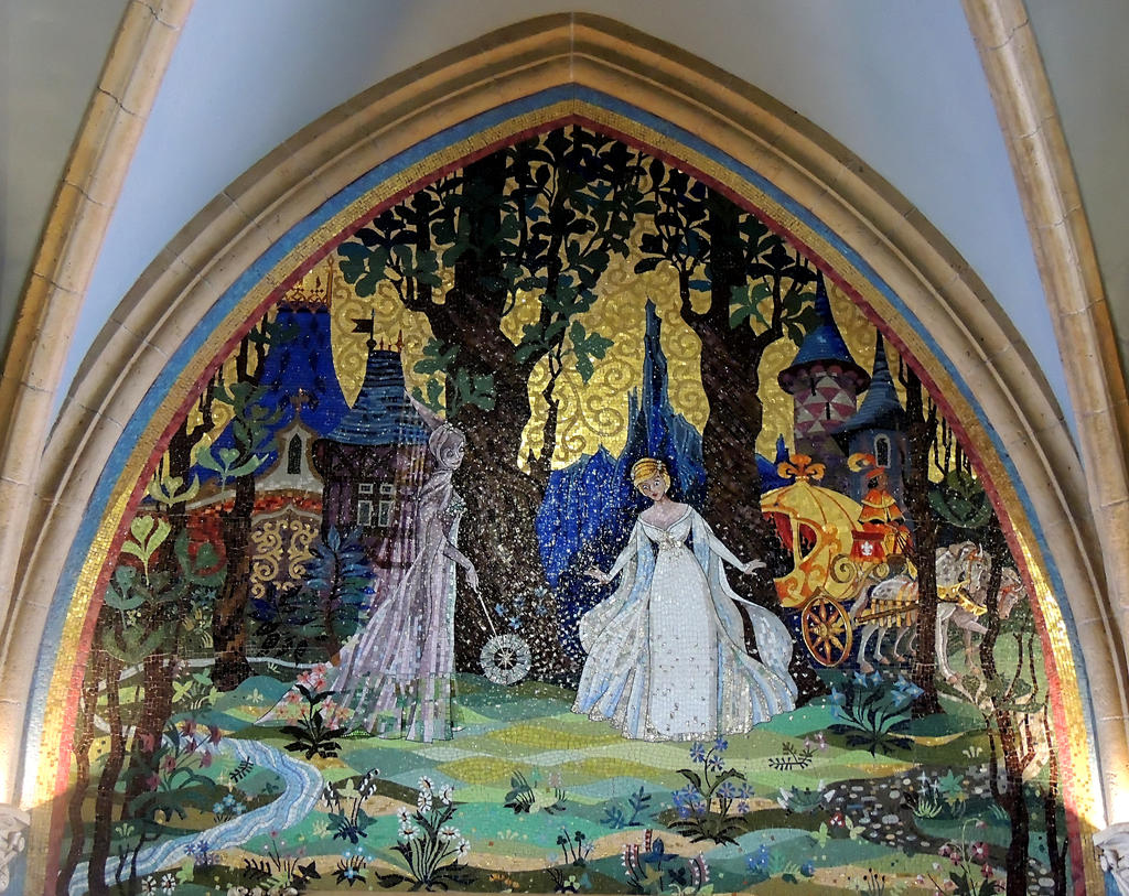 Mural inside cinderella 39 s castle 3 by poesdaughter on for Disney castle mural wallpaper