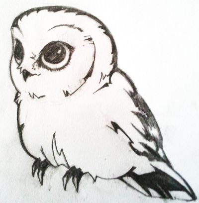 Little owl outline tattoo - photo#2