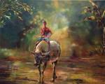 Water Buffalo and Young Boy Rider