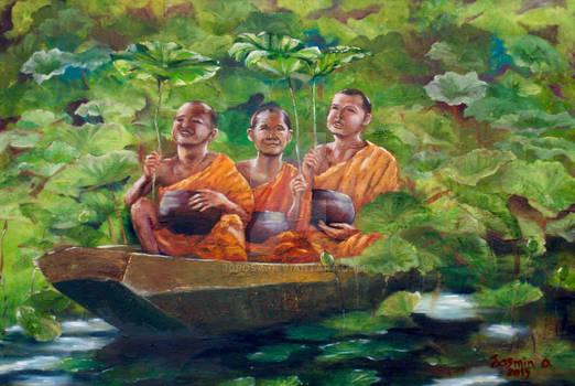 3 Monks in Boat