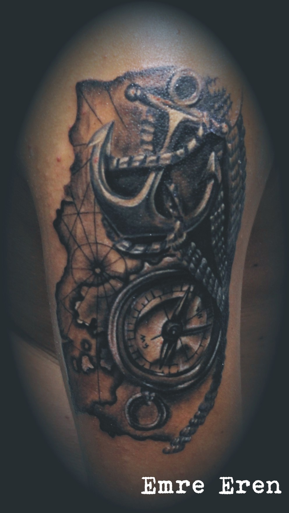 anchor rope compass tattoo by TattnRoll on DeviantArt