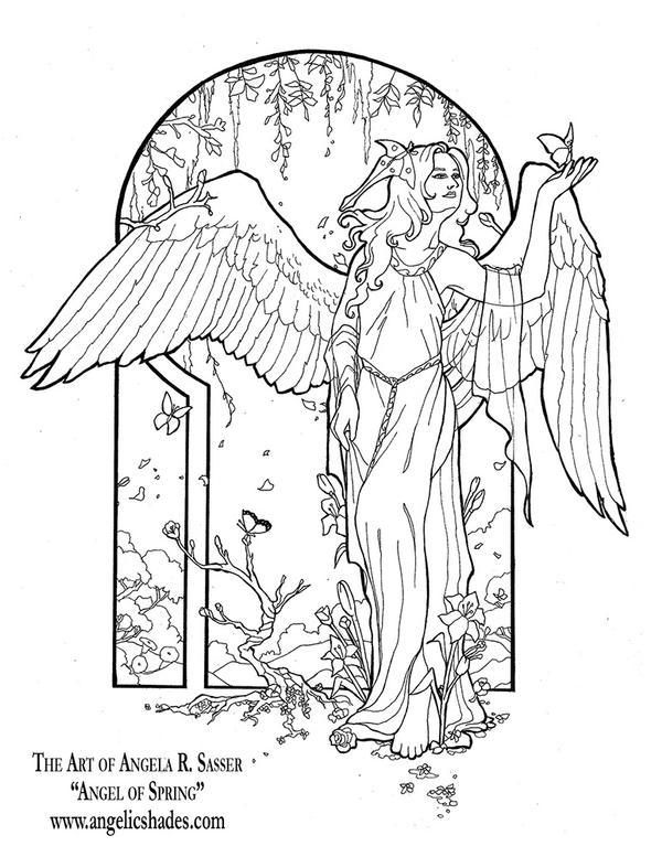 Line Art Angel : Angel of spring line art by angelasasser on deviantart