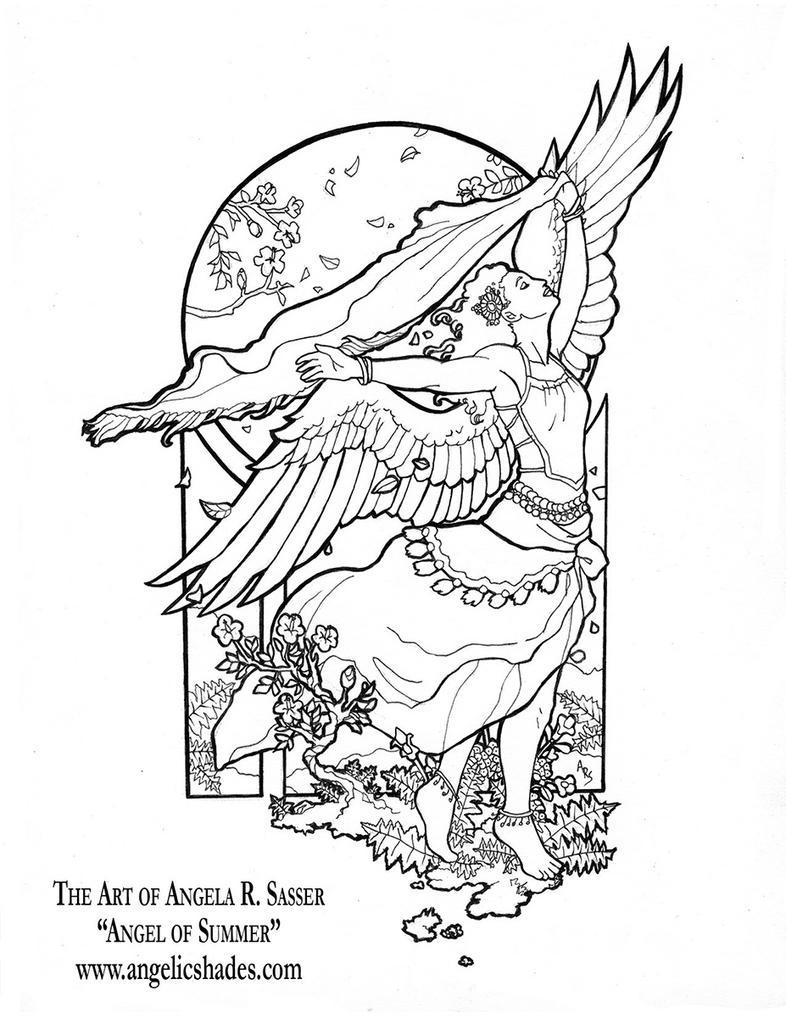 Line Art Angel : Angel of summer line art by angelasasser on deviantart