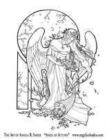 Angel of Autumn Line Art by AngelaSasser