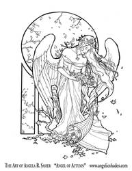 Angel of Autumn Line Art