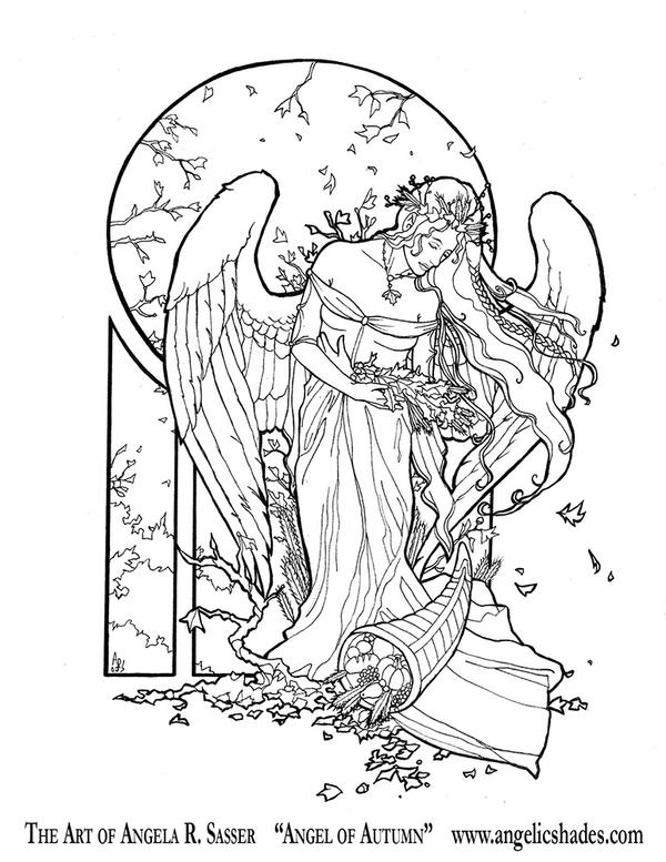 Angel of autumn line art by angelasasser on deviantart for Archangel michael coloring page