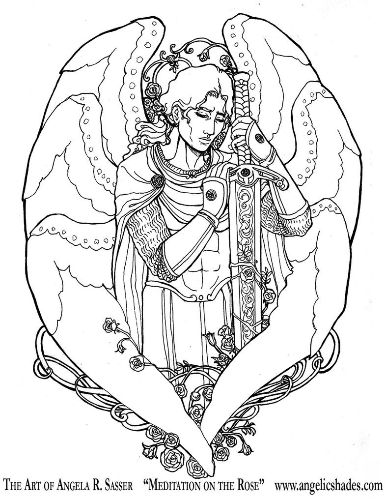 meditation coloring pages - meditation on the rose lineart by angelasasser on deviantart