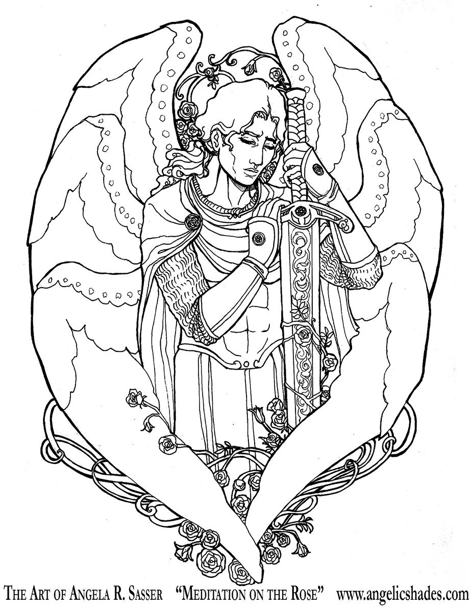 Meditation on the Rose LineArt