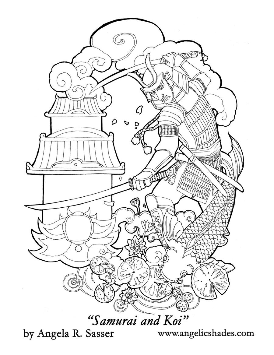 Samurai and Koi Tattoo Design
