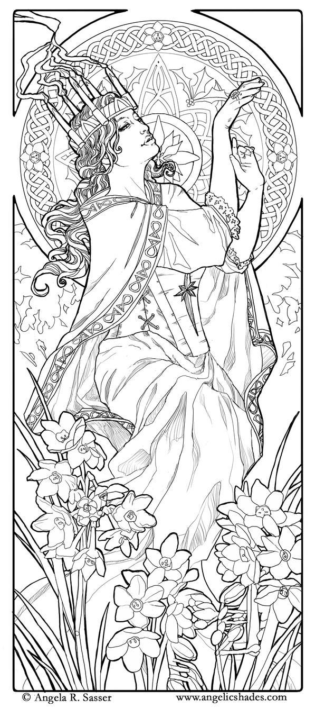 Lady of December Line Art by AngelaSasser