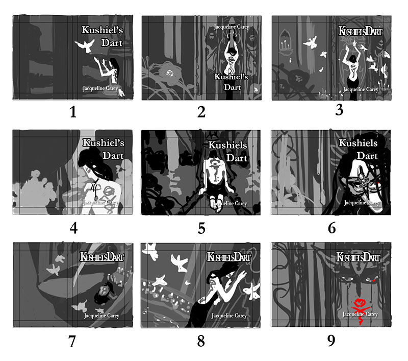 Kushiel's Dart Cover Redesign Thumbnail Sketches