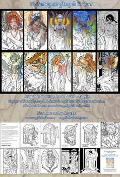 Printable Coloring Book Pack 1: Fantasy Art Angels