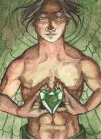 ACEO Emerald Angel by AngelaSasser