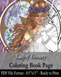 Coloring Book Page for Adults - Lady of February