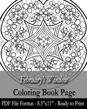 Coloring Book Page for Adults - February's Window