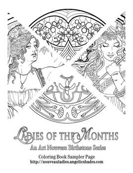 Ladies of the Months Coloring Page Sampler 1