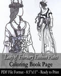 Coloring Page: Lady of February Fashion Plates