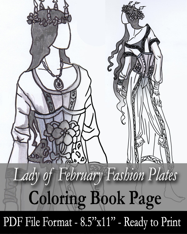 Coloring Page Lady Of February Fashion Plates By AngelaSasser