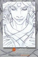 Patreon Sketch Card: Totemic Mask by AngelaSasser