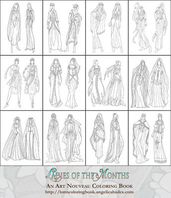 Coloring Pages - Ladies of the Months Fashions